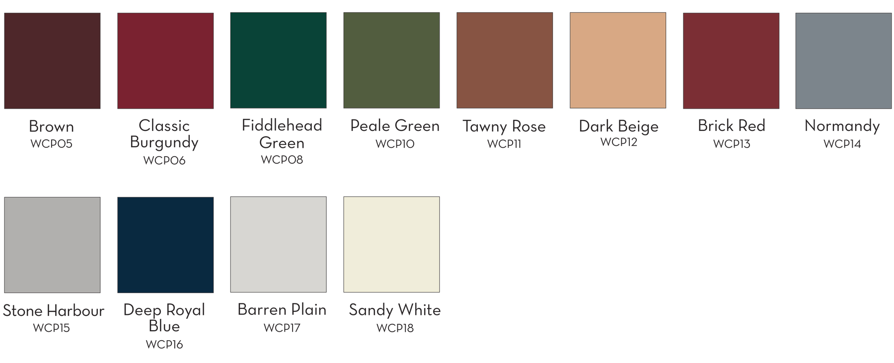 Product Colors - Paint Options