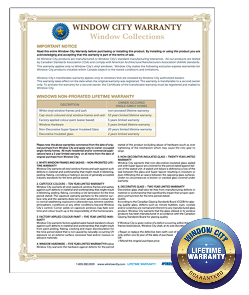 Window City Warranty